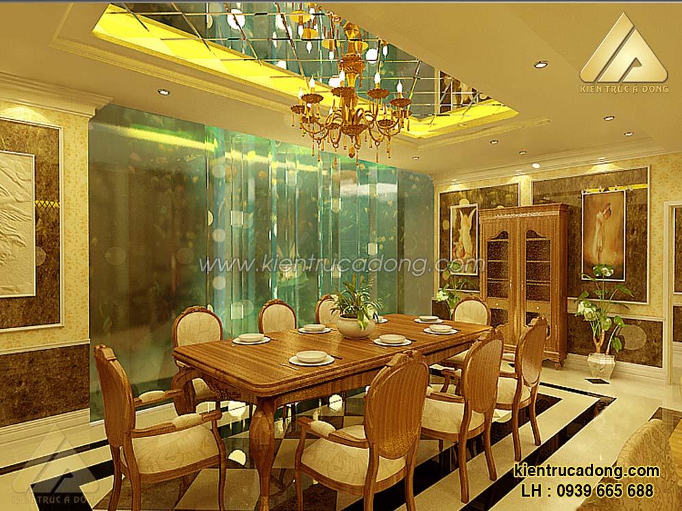 Mẫu nội thất phòng ăn tại biệt thự cổ điển châu Âu