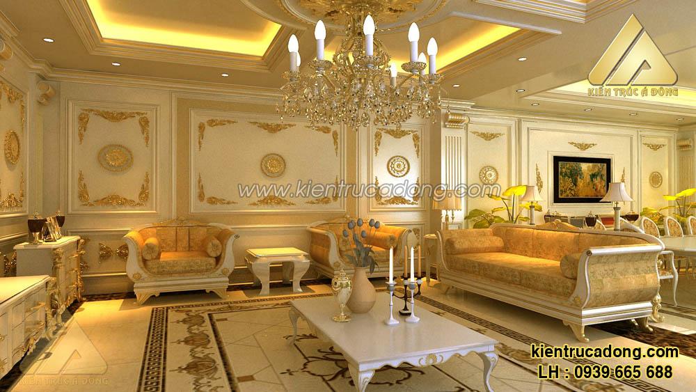 Mẫu thiết kế phòng khách biệt thự cổ điển sang trọng