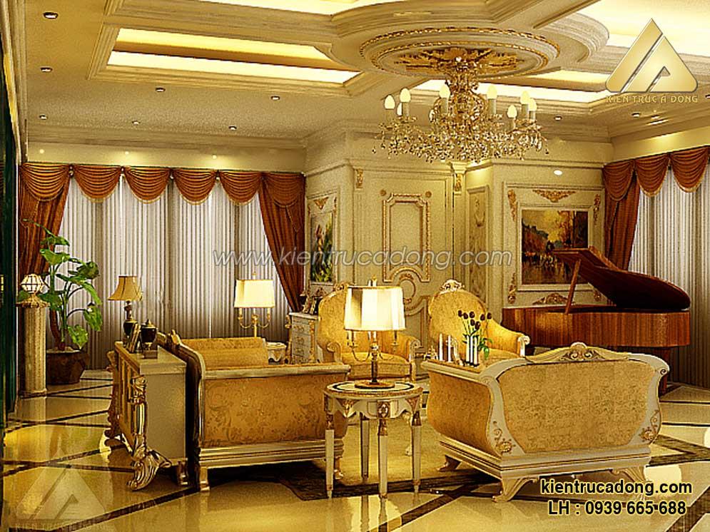 Thiết kế nội thất phòng khách biệt thự cổ điển châu Âu