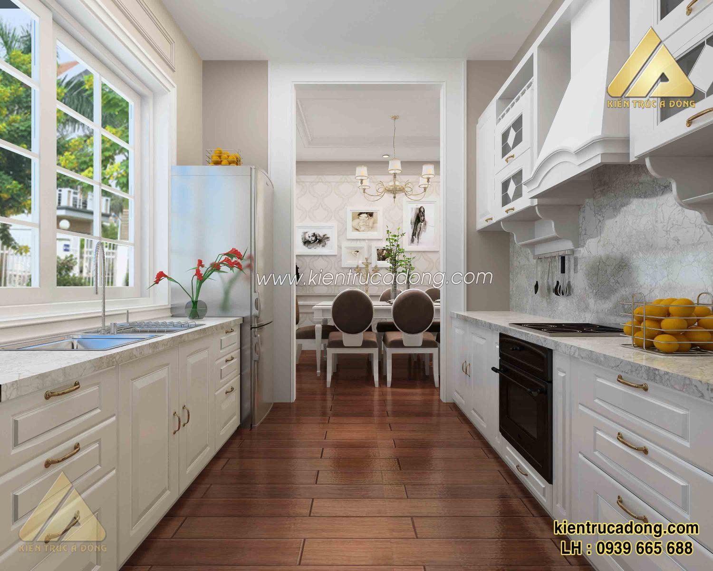 Mẫu nội thất phòng bếp biệt thự châu Âu