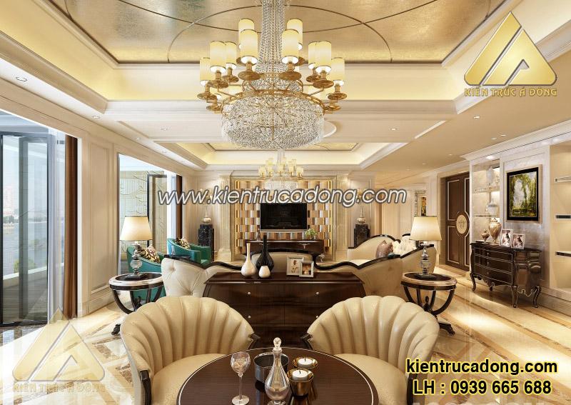 Mẫu nội thất phòng khách biệt thự tân cổ điển