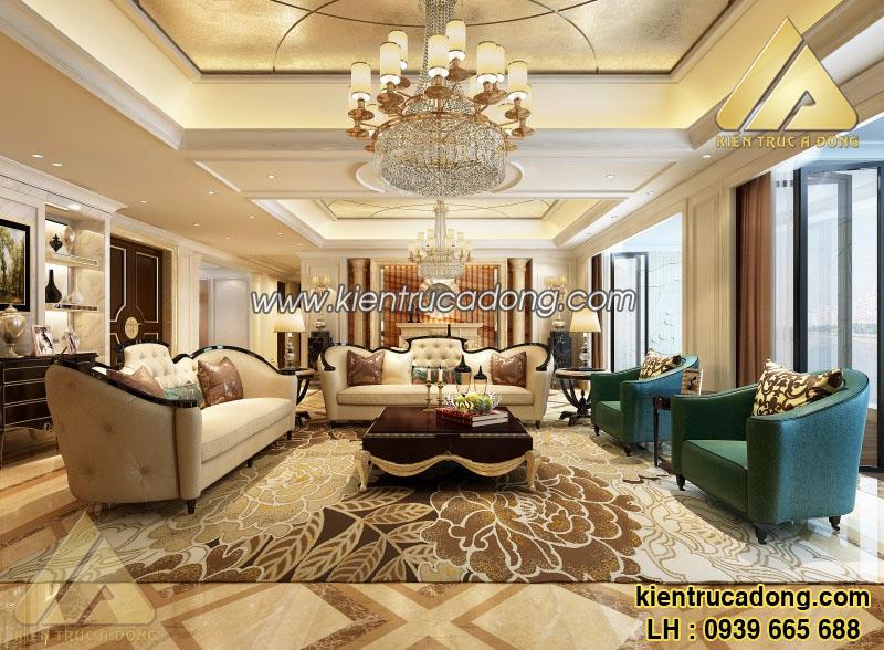 Mẫu thiết kế kiến trúc nội thất phòng khách phong cách tân cổ điển