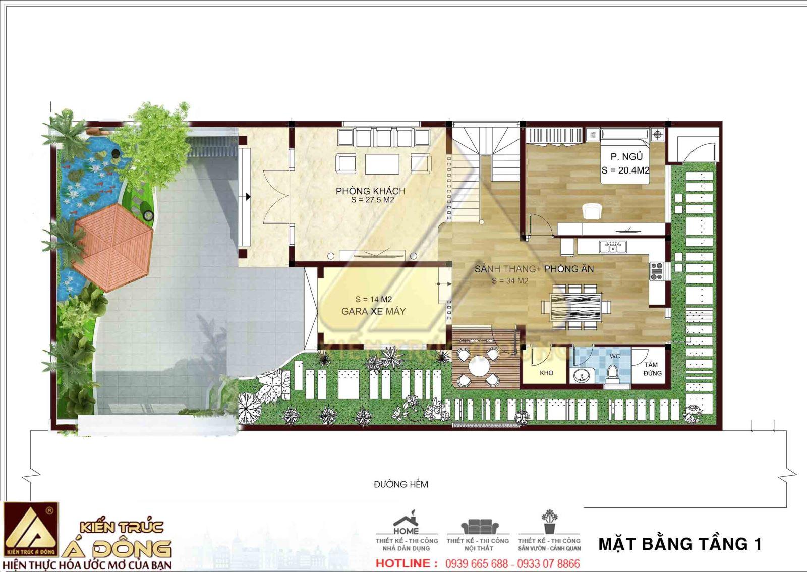 Phương án bố trí mặt bằng khi thi công biệt thự phố 2,5 tầng tại Tây Hồ