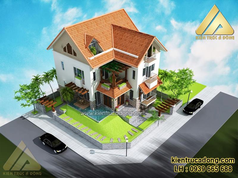 Mẫu thiết kế nhà biệt thự phố 2 tầng hiện đại ở Phú Thọ