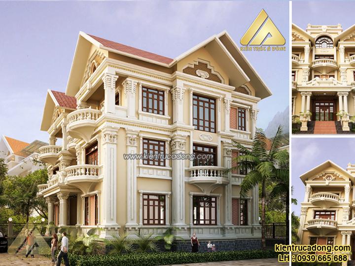Mẫu nhà đẹp thiết kế biệt thự cổ điển