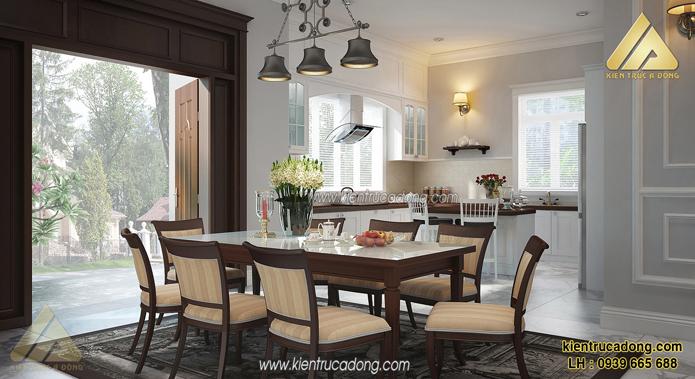 Trang trí nền phòng ăn bằng màu xám