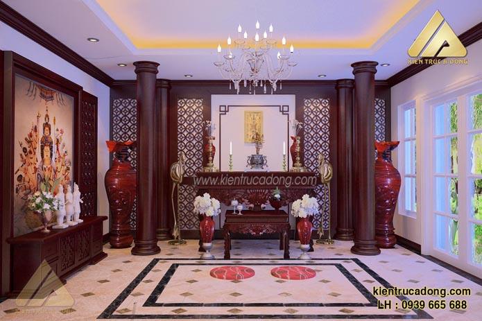 Bàn thờ được thiết kế nội thất trang trọng uy nghiêm