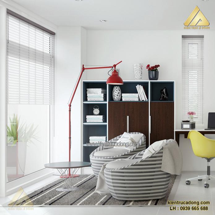 thiết kế nội thất phòng làm việc biệt thự hiện đại