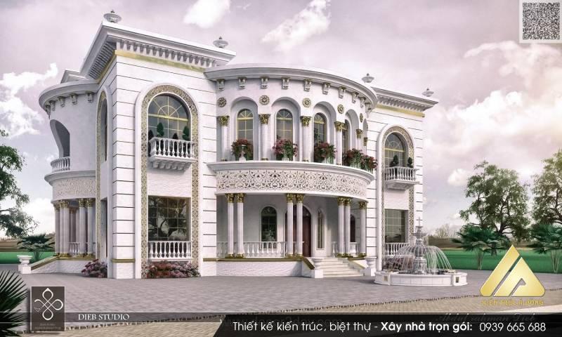 Mẫu thiết kế nhà biệt thự cổ điển 3 tầng tại thành phố Lào Cai