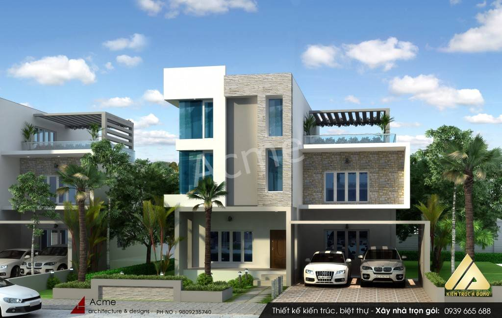 Mẫu biệt thự hiện đại 2 tầng đẹp đầy sáng tạo
