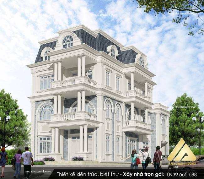 Mẫu thiết kế biệt thự 3 tầng cổ điển Hải Phòng