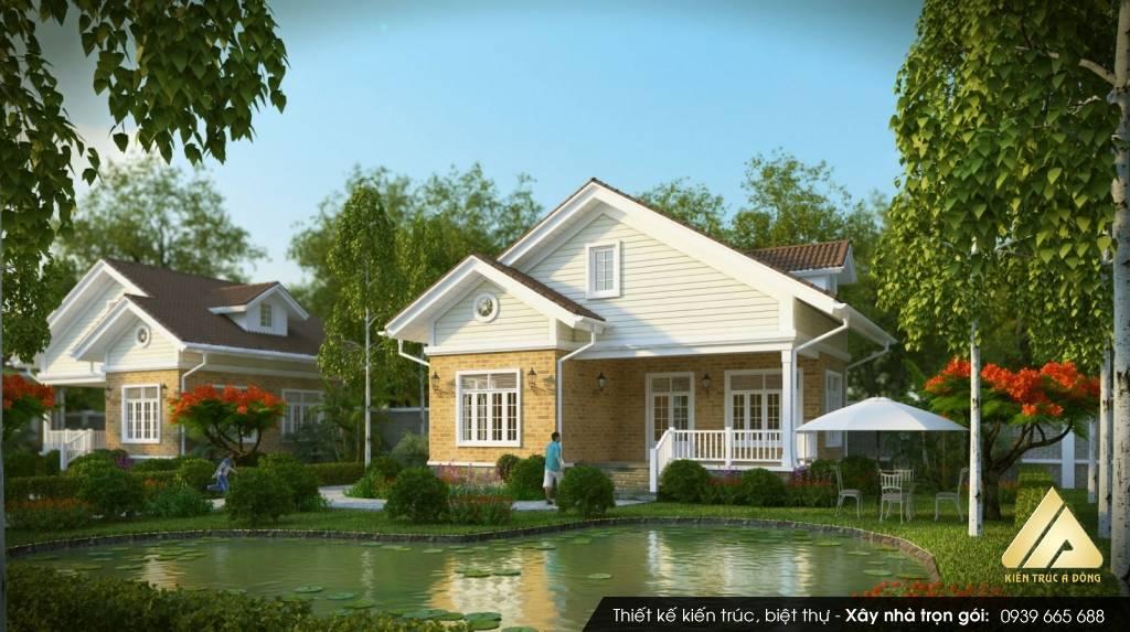 Mẫu biệt thự nhà vườn 2 tầng đẹp mang phong cách hiện đại