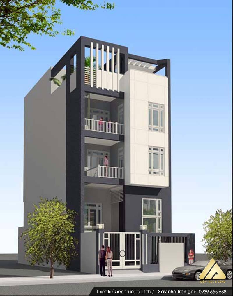 Mẫu nhà phố đẹp 3 tầng hiện đại mặt tiền 5m