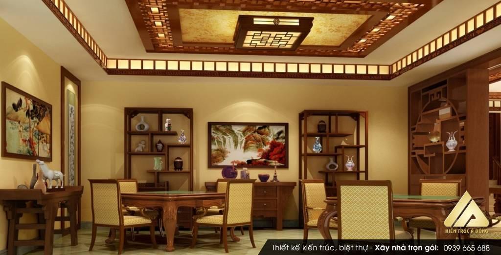 Mẫu thiết kế nội thất biệt thự sang trọng phong cách Á Đông
