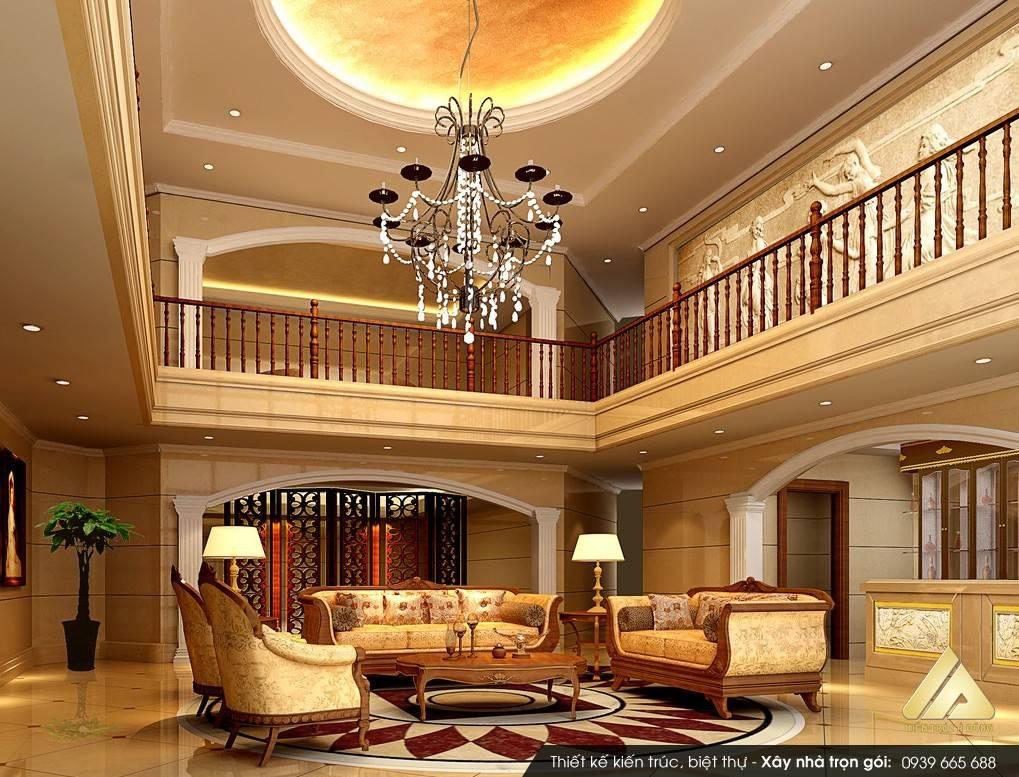 Mẫu nội thất phòng khách đẹp biệt thự cổ điển