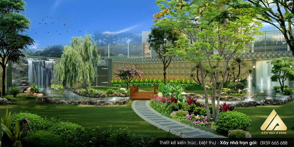 Mẫu thiết kế sân vườn đẹp biệt thự đẹp trên núi