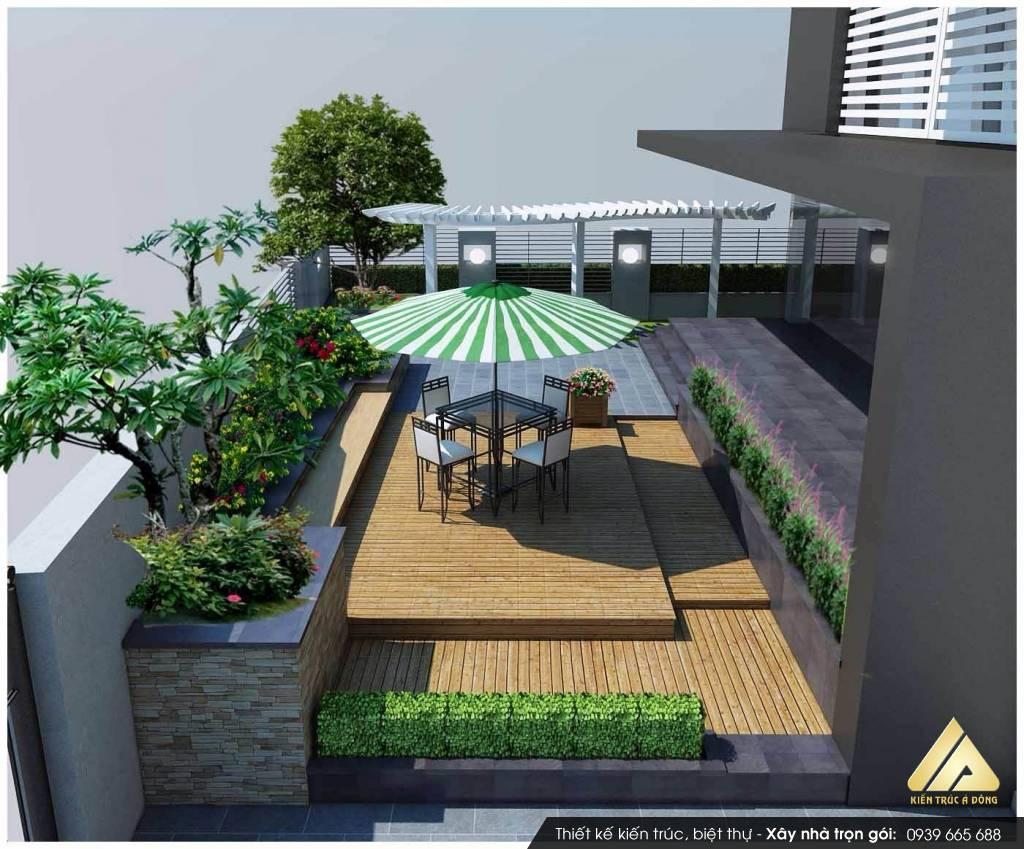 Thiết kế sân vườn sân thượng