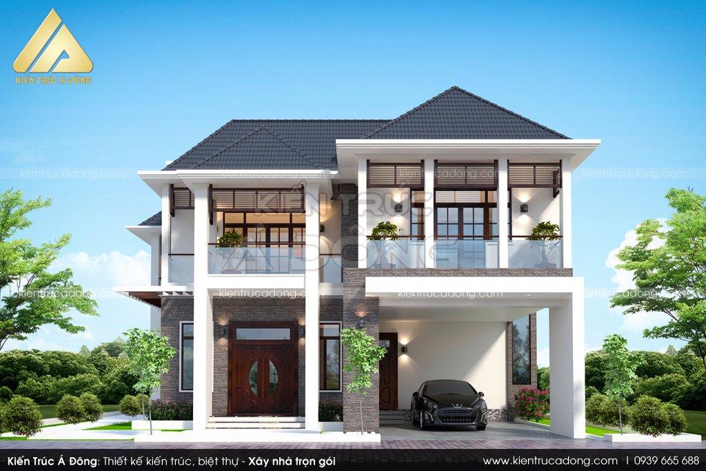 Thiết kế biệt thự 3 tầng mái thái tại Bắc Giang