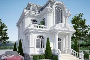 Mẫu nhà ở cổ điển 2 tầng mặt tiền 8m
