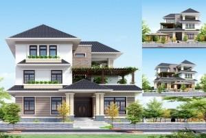 Thiết kế biệt thự 3 tầng mái thái