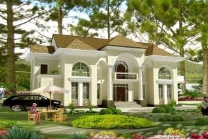 Mẫu nhà dinh thự cổ điển 2 tầng đẹp và đẳng cấp