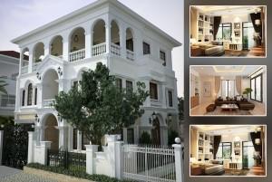 Mẫu thiết kế dinh thự tân cổ điển đẹp 3 tầng tại Tuyên Quang