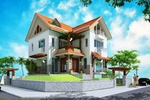 Mẫu nhà ở 2 tầng mái Thái đẹp, sang trọng tại Phú Thọ