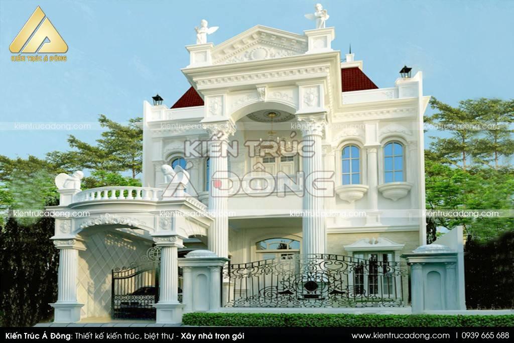 Choáng ngợp mẫu biệt thự cổ điển 2 tầng đẹp sang trọng