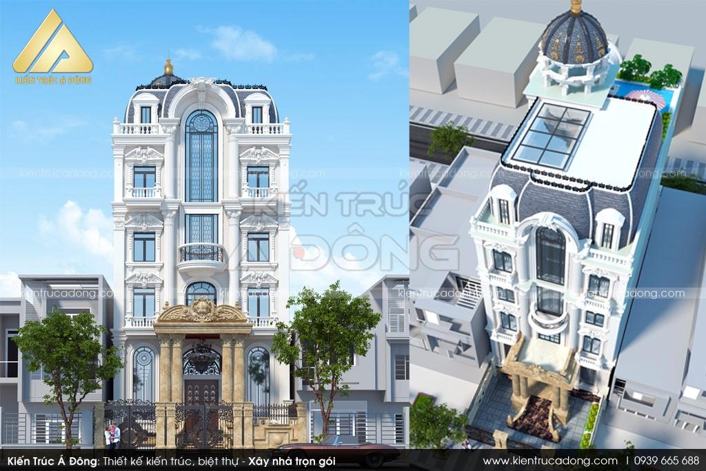 Mẫu biệt thự cổ điển 5 tầng 2 mặt tiền