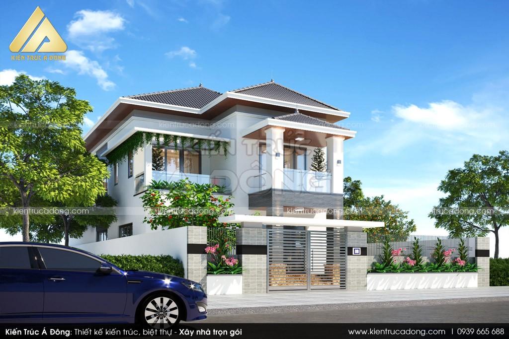 Thiết kế biệt thự 2 tầng mái thái tại Đắk Lắk