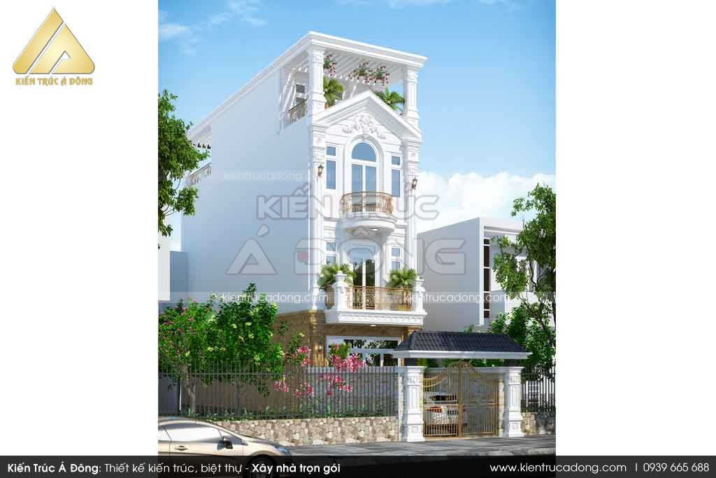 Mẫu nhà phố 4 tầng phong cách tân cổ điển tại Hà Nội