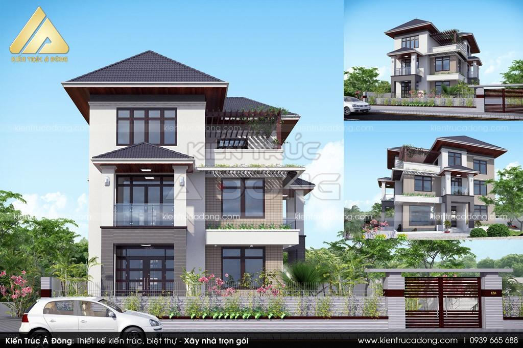 Mẫu biệt thự 3 tầng mái thái sang trọng