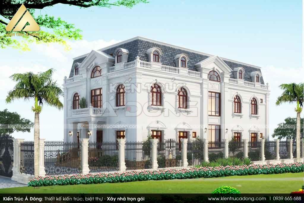 Thiết kế biệt thự tân cổ điển 2 tầng tại Kon Đắk Nông