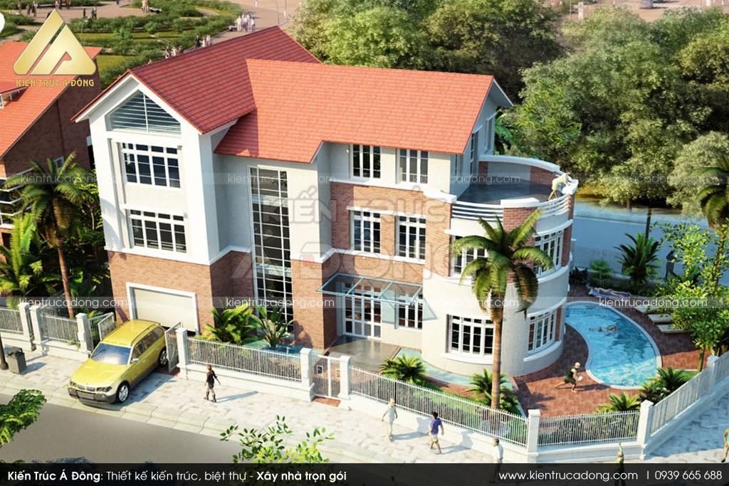 Thiết kế dinh thự hiện đại 2,5 tầng đẹp tại Hà Nội
