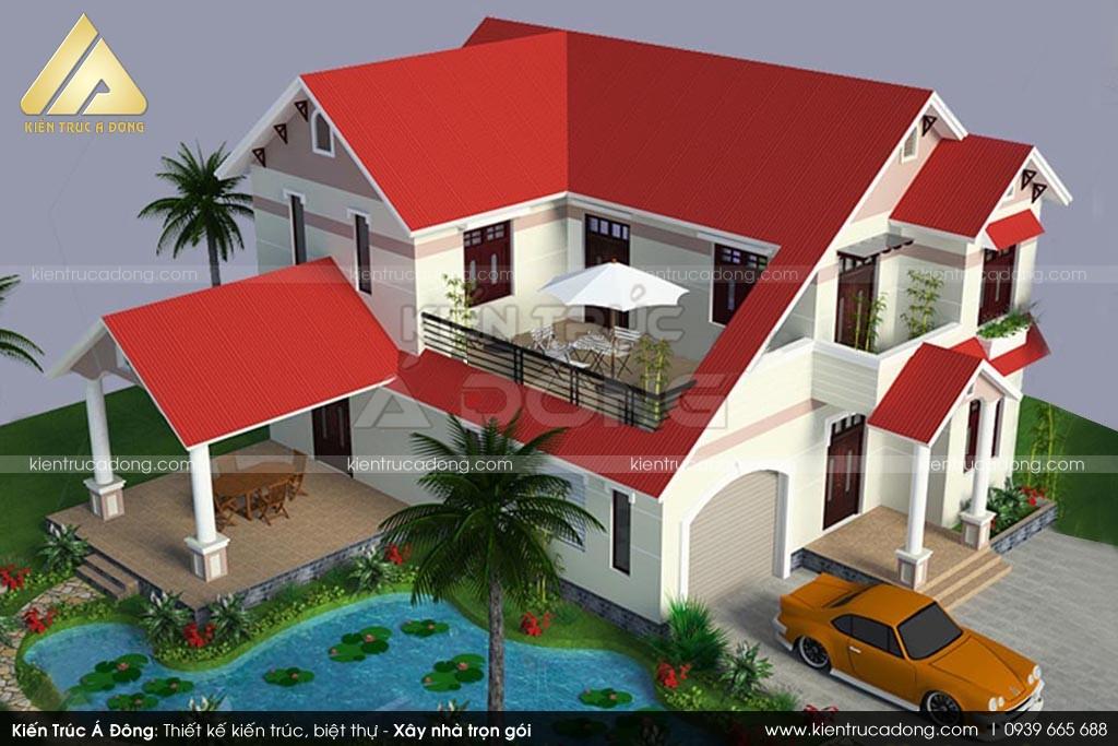Mẫu thiết kế biệt thự 2 tầng đẹp sang trọng