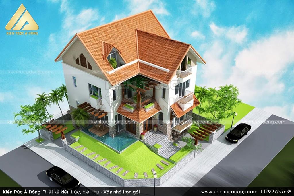 Mẫu dinh thự 2 tầng chữ L đẹp tại Phú Thọ