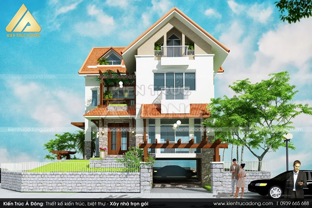 Mẫu biệt thự 2 tầng chữ L đẹp tại Phú Thọ