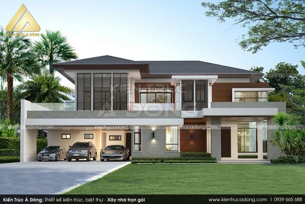 Mẫu nhà đẹp thiết kế dinh thự 2 tầng chữ L TP Đà Lạt