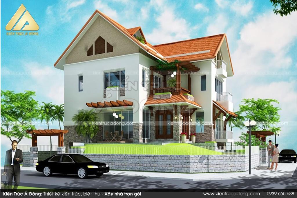 Mẫu dinh thự 2 tầng mái Thái đẹp, sang trọng tại Phú Thọ