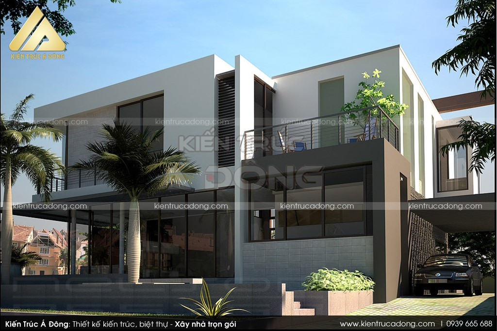 Thiết kế nhà dinh thự 2 tầng đẹp, độc đáo hấp dẫn mọi ánh nhìn