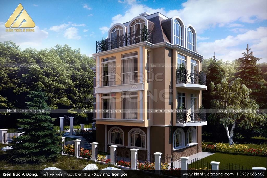 Mẫu thiết kế nhà lâu đài cổ điển 3 tầng tại thành phố Lào Cai