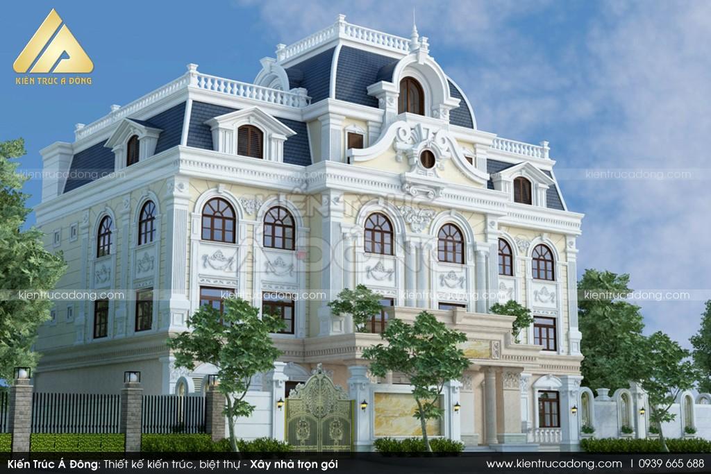 Mẫu thiết kế lâu đài Pháp cổ điển 3 tầng đẳng cấp, sang trọng.