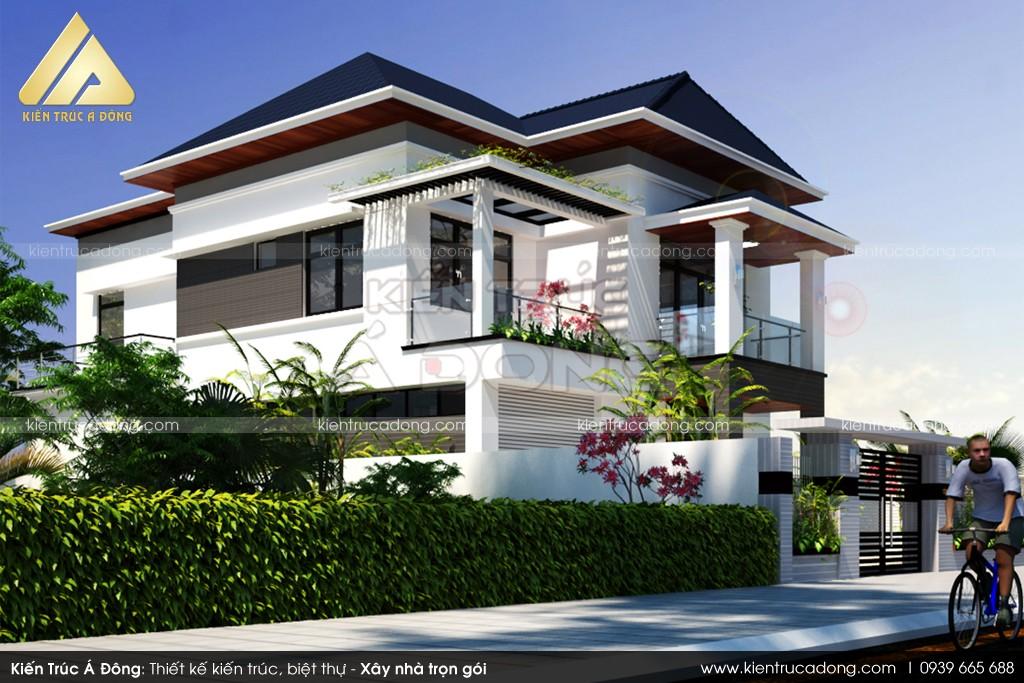 Mẫu thiết kế dinh thự 2 tầng đẹp hiện đại rất cuốn hút