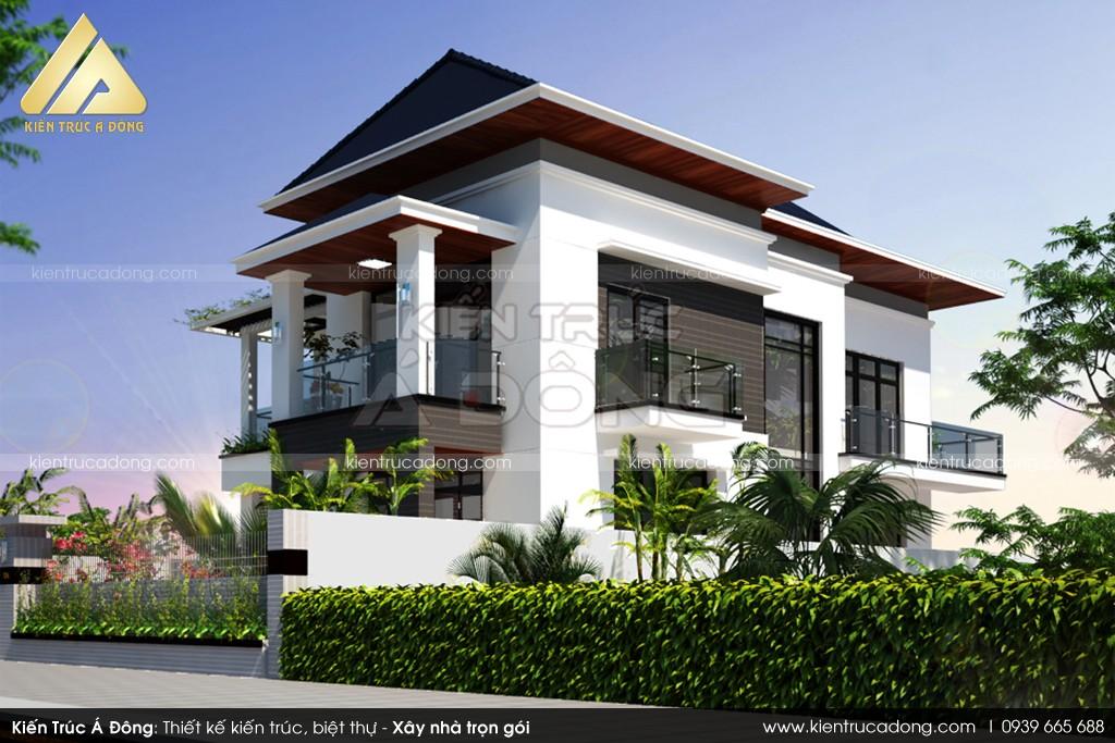 Mẫu thiết kế biệt thự 2 tầng đẹp hiện đại rất cuốn hút
