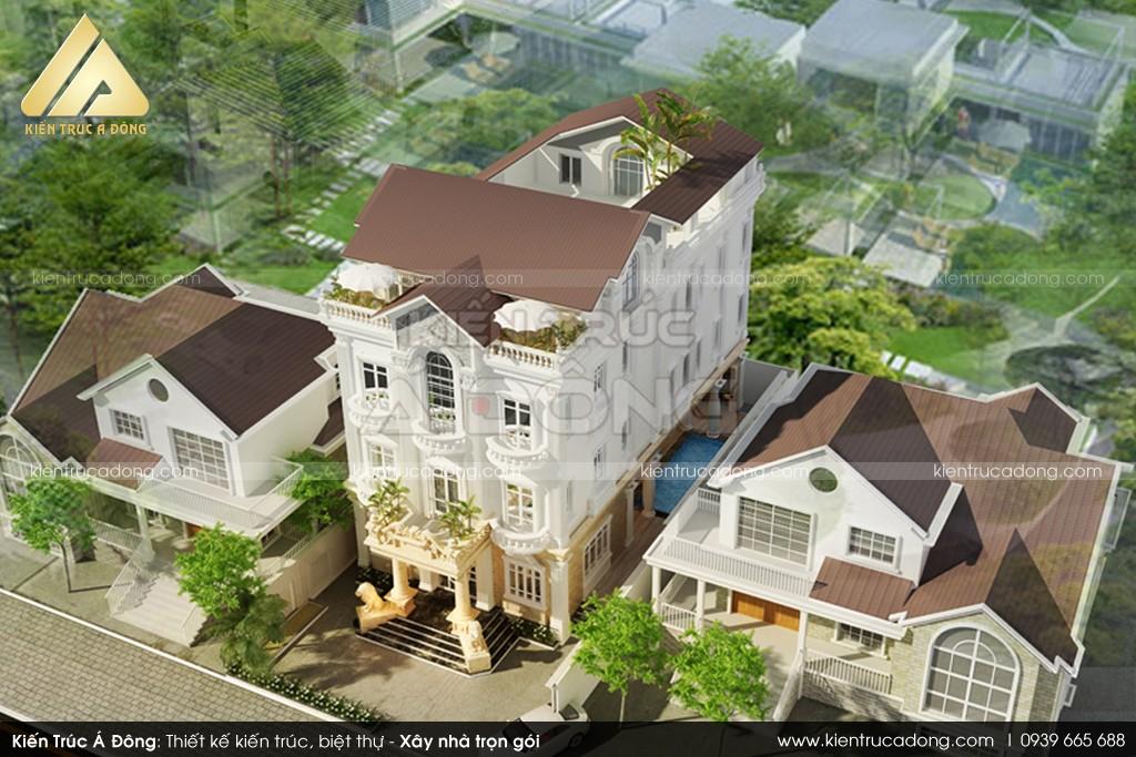 Thiết kế dinh thự nghỉ dưỡng kiểu Pháp 3 tầng tại TP Hội An
