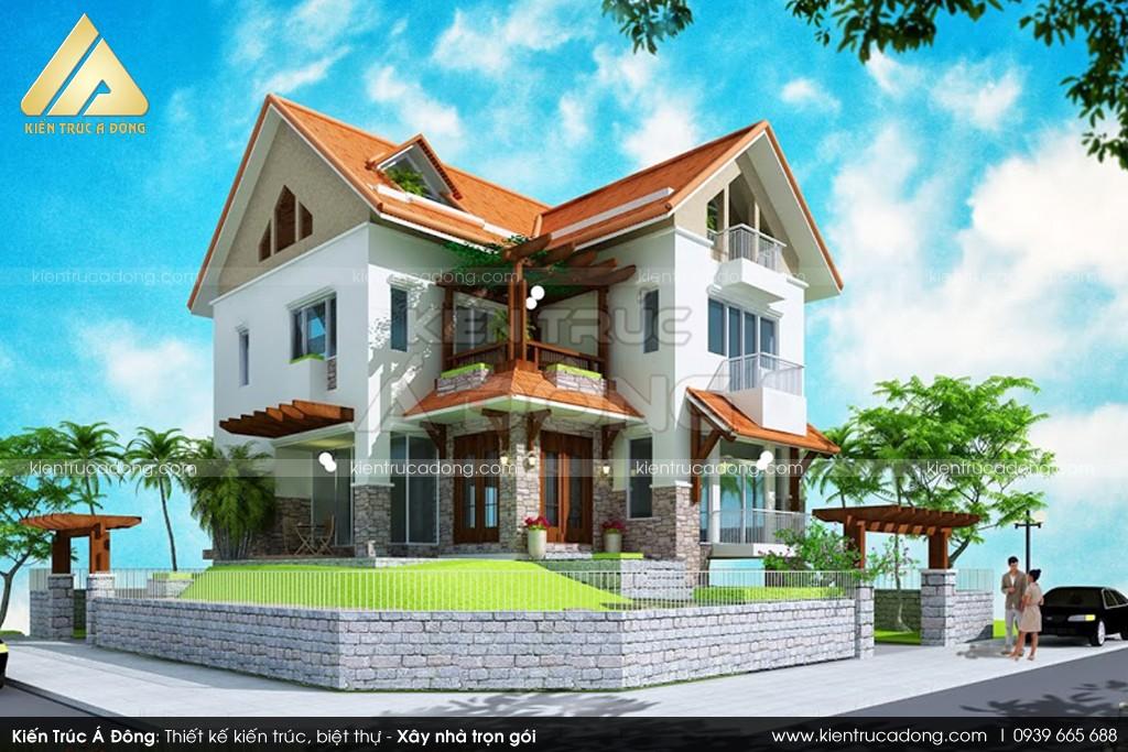 Thiết kế biệt thự 2 tầng mái dốc tại Bắc Ninh