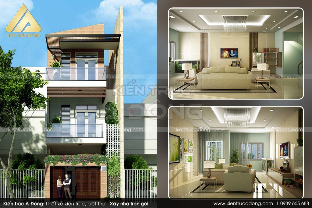 Thiết kế nhà phố 3 tầng hiện đại, sang trọng